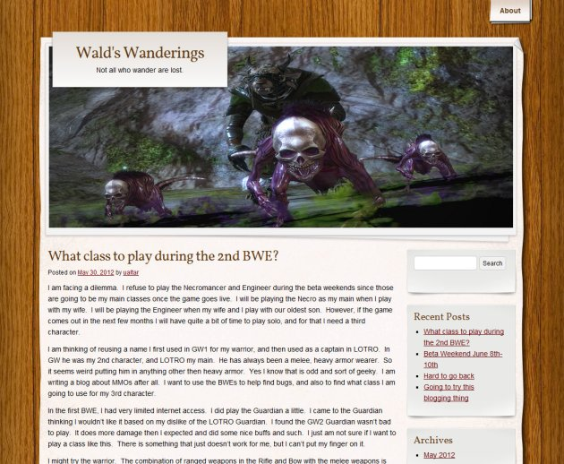 "screen shot of home page of MMO blog ""Wald's Wanderings"""