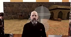 image of Neal Stephenson at Subatai / Clang with developers in the background