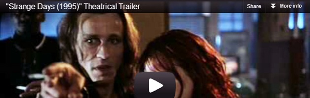 "Screen Cap from frame of the trailer for 1995 Kathryn Bigelow film ""Strange Days"""