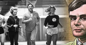Montage of Senator Bayh with Purdue athletes and Alan Turing portrait illustration.