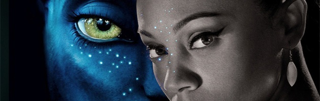 Photo collage of  Zoë Saldaña as Uhura in Star Trek and Neytiri in Avatar