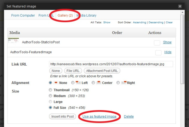 "Screen Cap of WordPress Media Tool showing how to ""Set Featured Image"""