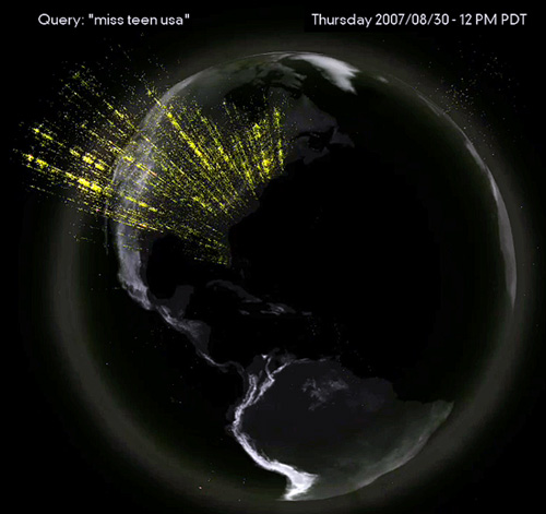 "Yahoo Research Reverse IP Lookup map for search term ""Miss Teen USA"" showing the explosion of queries in 2007"