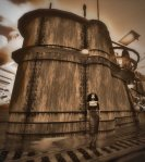 vintage, sepia-toned photograph of Vaneeesa Blaylock standing in front of the conning tower of a WWII era U-Boat
