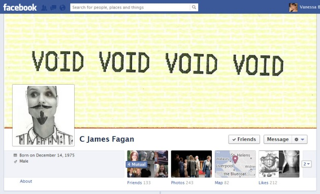 Screen Cap of C James Fagan's Facebook Timeline cover