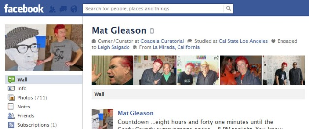 Screen Cap of Mat Gleason's Facebook Profile Pix