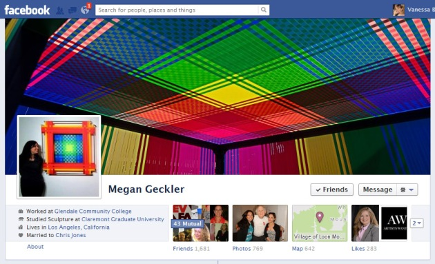 Screen Cap of Megan Geckler's Facebook Timeline cover