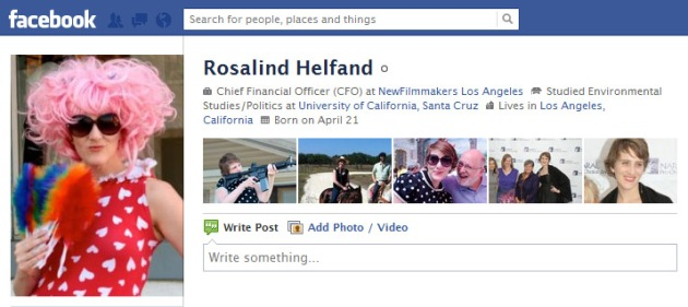 Screen Cap of Rosalind Helfand's Facebook profile pix