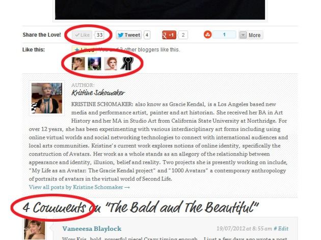 "Screen Cap of Kristine Schomaker's post on iRez showing 33 Facebook ""likes"" and 4 WordPress ""likes"""