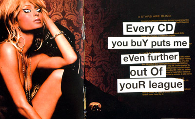 "Image of Banksy's pranked version of Paris Hilton's CD with the text ""Every CD you buy puts me even further out of your league"""