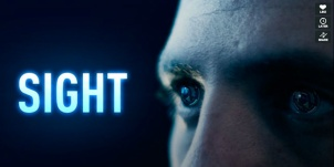 "Title Frame from Eran May-raz and Daniel Lazo's new film Sight. Image is of the title, ""Sight"" and a close up of a man's face, where his eyes seem to have some sort of ""active architecture"""