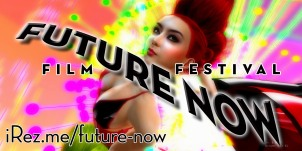 "Poster art for iRez ""Future Now Film Festival"" with graphic type superimposed over a ""technicolor"" photograph of Xue Faith performing in VB34 Net / Work"