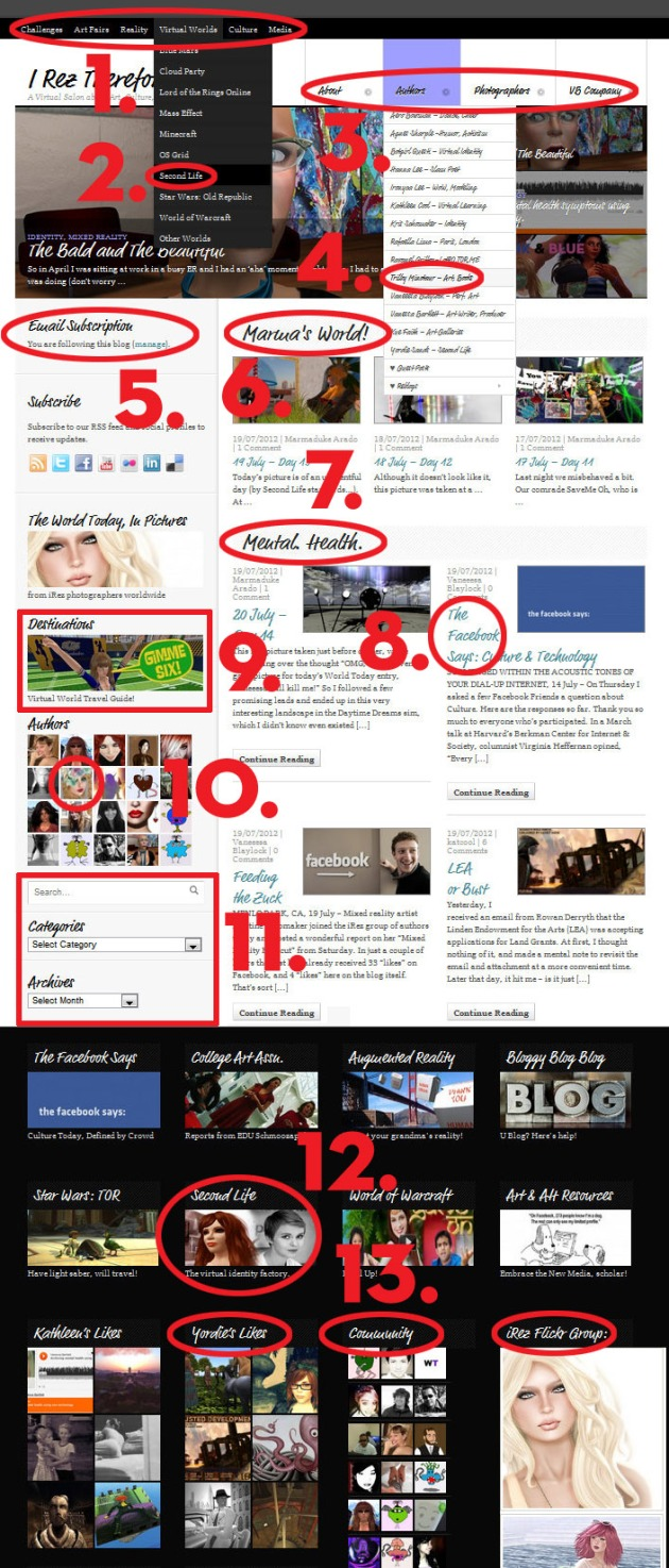 Screen Cap of entire iRez home page using WooThemes Delicious Magazine on WordPress.com with many different navigation choices circled in red and with numbers keyed to text below