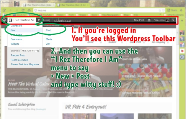 Screenshot of iRez blog on WordPress with WordPress toolbar hilited, indicating that user is logged in
