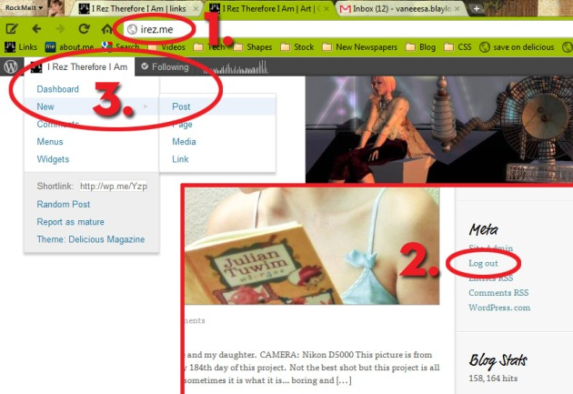 Screen Cap of iRez Blog Home page with areas circled to make a new post
