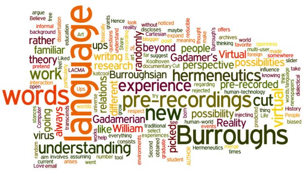 """Wordle"" word scramble of the text of Kathleen Cool's blog post ""Word Viruses and Other Pre-Recordings"""