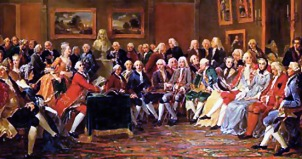 Painting of a large group of people in conversation in a large salon