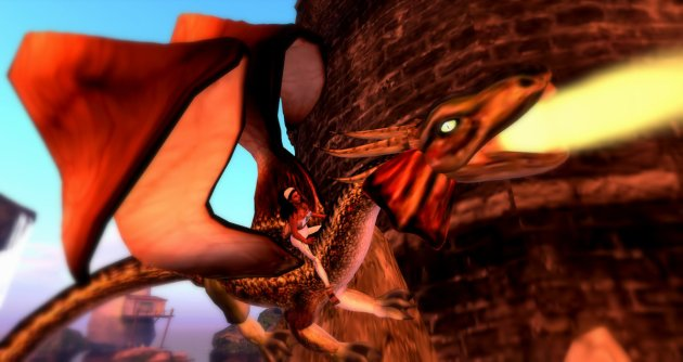 Vaneeesa Blaylock riding a fire breathing dragon at Mysterious Dream on the Moonlight Sim in Second Life