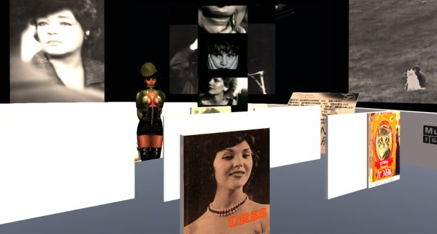 "Vaneeesa Blaylock (wearing a ""Poison"" paramilitary uniform from Jackie Graves) stands in the Chris Marker Museum in the Ouvroir sim in Second Life"