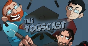 Image from Yogscast YouTube channel of cartoon guys at computer screens and microphones