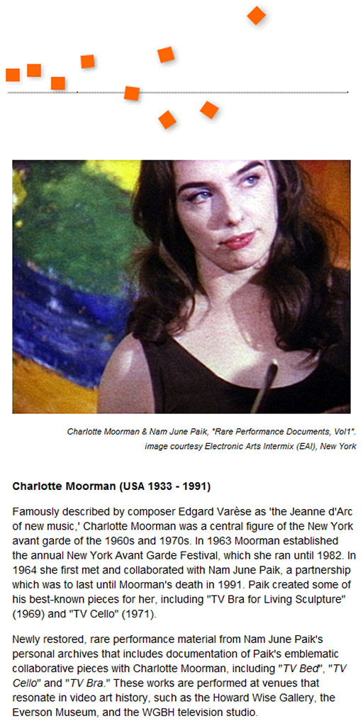 Charlotte Moorman wall graphic with photo of her and wall text about her life and work
