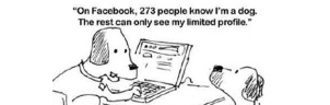 "2 dogs at a computer rehashing the famous ""on the internet nobody knows you're a dog"" conversation, this time with the caption ""On Facebook 273 people know I'm a dog, the rest can only see my limited profile"""