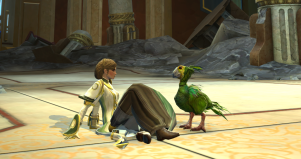 ScreenCap from Star Wars: The Old Republic, in front of the old Jedi Temple on Coruscant, a large tile floor with Ravanel's avatar sitting on the floor and her pet Orokeet facing her