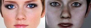 Side by side headshots of actor Valorie Curry and Playstation 3 / Quantic Dream character Kara
