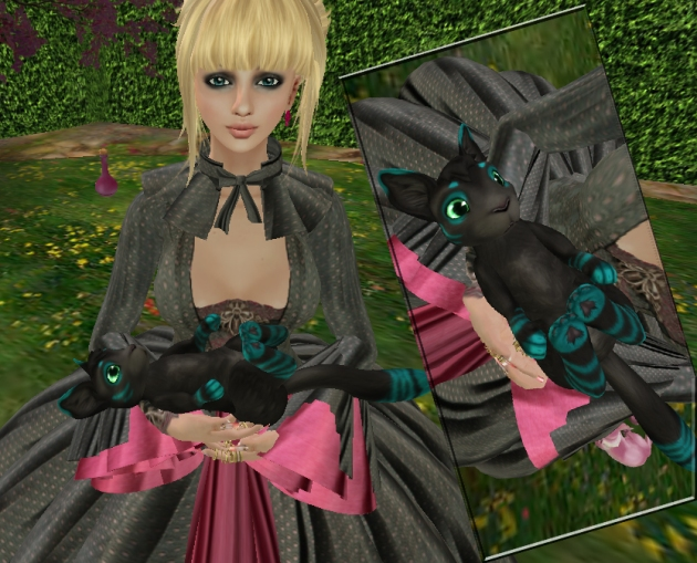 "Trilby Minotaur in Second Life with her pet ""Meeroo"""