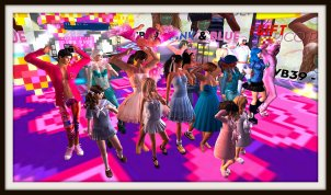 Avatars in the virtual world Second Life participating in the virtual performance artwork VB39 - Pink & Blue