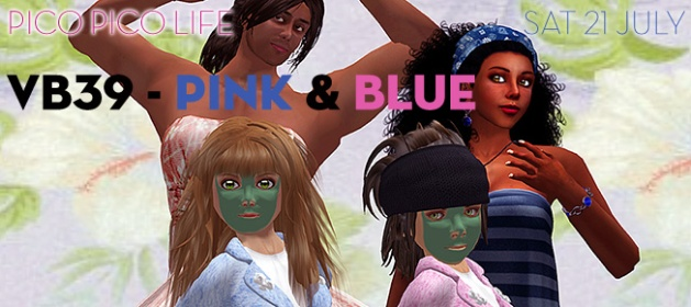 "Image of four avatars, Man, Woman, Girl, and Boy, the woman and girl dressed in blue and the man and boy dressed in pink, with the text ""VB39 - Pink & Blue"""