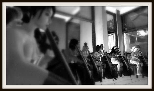 B&W photograph of performers at Gallery Xue / NYC performing in VB40 Charlotte, Forever!