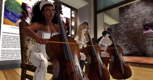 "3 avatars inside Gallery Xue / NYC wearing ""TV Bras"" and playing cellos with posters of Charlotte Moorman in the background"