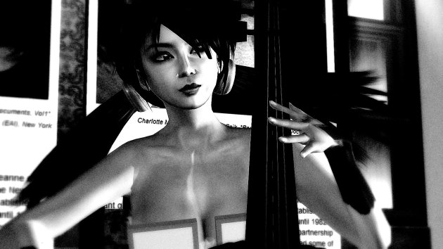 B&W photograph of art gallery owner Xue Faith playing cello at Gallery Xue / NYC