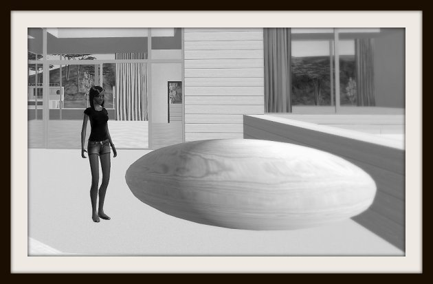 Vaneeesa Blaylock on the sun deck of a virtual house in Cloud Party with a large wooden orb