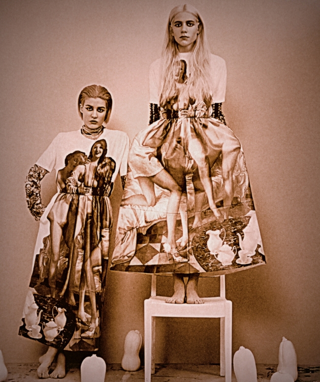 Vaneeesa Blaylock & Stacey Giachino stand in an antique, selenium toned image wearing dresses with photo prints on them.