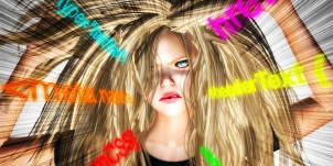 Image of Second Life Avatar pulling her hair out with various HTML text in glowing letters over her image