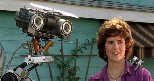 Ally Sheedy as Stephanie Speck and the robot Number Five in the 1986 film Short Circuit