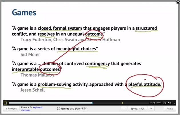 ScreenCap of Professor Kevin Werbach's Gamification Lecture 2