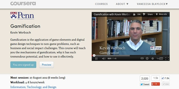 ScreenCap of Prof Kevin Werbach's Gamification course home page on the Coursera website