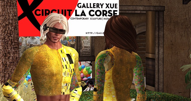 "Pixel Reanimator and Gina Broono standing in the street at Circuit La Course on the Second Life Mainland, wearing matching ""Klimt"" outfits"