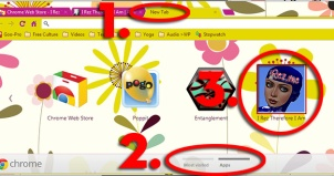 ScreenCap of Chrome Web Browser New Tab Apps with iRez App Circled