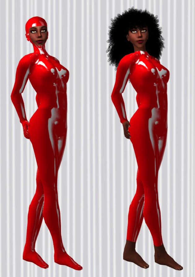 Vaneeesa Blaylock wearing 2 versions of a red unitard from Kai Heideman / Powers of Creation - a hooded and footed version, and one with open feet that ends at the neckline