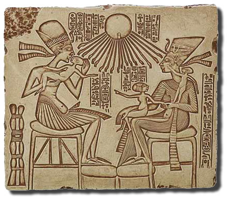A clear, accurate, drawing of the famous illustration of Akhenaten, Nefertiti, and the kids