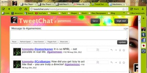 ScreenCap of TweetChat twitter chatting app running in a RockMelt web browser tab
