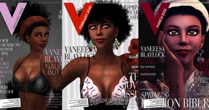 Montage of V Magazine covers from 2012 featuring Vaneeesa Blaylock on the cover 3 times