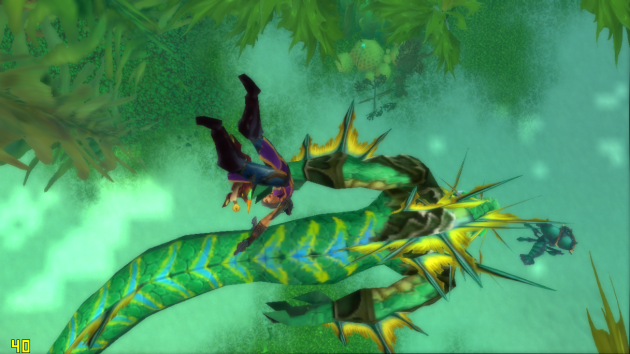 ScreenShot from World of Warcraft, Avatar Viya, lies unconscious next to a giant, angry Naga.