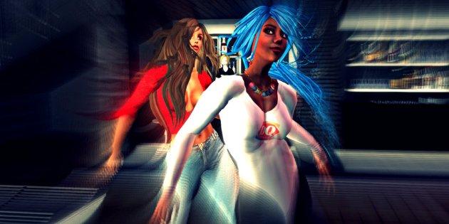 Fiona Blaylock and Vaneeesa Blaylock dancing at Club Rebublik in Second Life