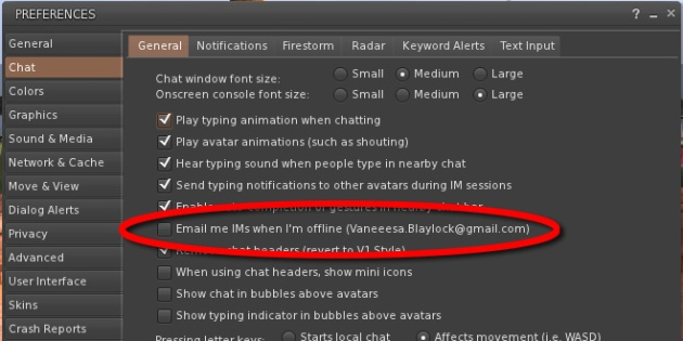 """ScreenCap of Second Life Firestorm Viewer Preferences with red circle on """"Email IM's"""""""