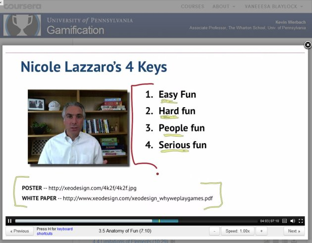 ScreenCap of Gamification Lecture 3 by Kevin Werbach with chart of Nicole Lazzaro's 4 Keys
